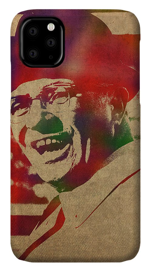 Coach IPhone 11 Case featuring the mixed media Coach Vince Lombardi Watercolor Portrait by Design Turnpike