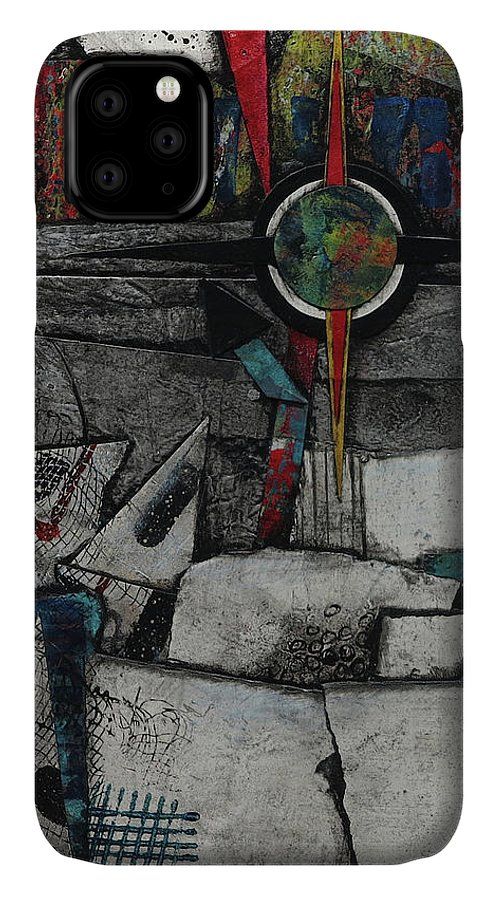Collage IPhone 11 Case featuring the mixed media Collision Course by Laura Lein-Svencner