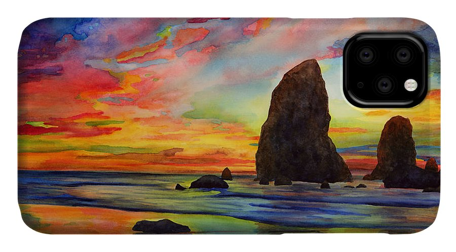 Sunset IPhone Case featuring the painting Colorful Solitude by Hailey E Herrera