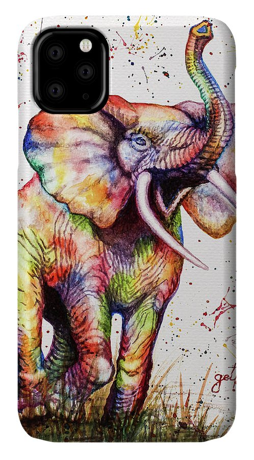 Elephant IPhone Case featuring the painting Colorful Watercolor Elephant by Georgeta Blanaru