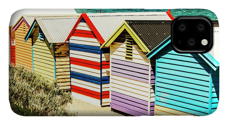 Hut IPhone Case featuring the photograph Colourful Bathing Sheds by Jorgo Photography - Wall Art Gallery