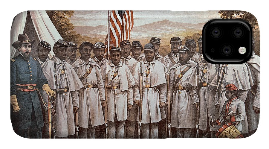 Recruitment; American Civil War; Volunteer; Soldiers; Soldier; Army; Uniform; Flag; Stars And Stripes; General; Drummer; Negro; African-american; Us; Usa; Recruiting; Advertisement; Advert; Propaganda; African American IPhone 11 Case featuring the painting 'come And Join Us Brothers' by American School