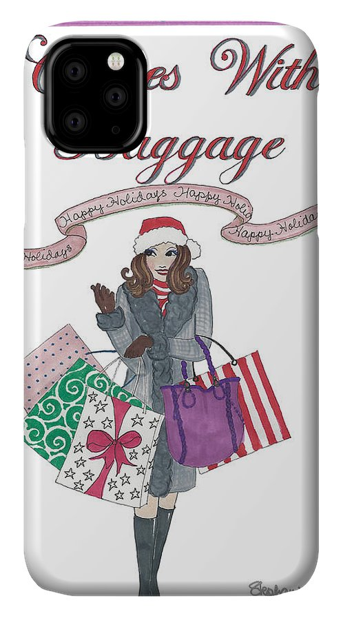 Holiday IPhone Case featuring the mixed media Comes with Baggage - Holiday by Stephanie Hessler