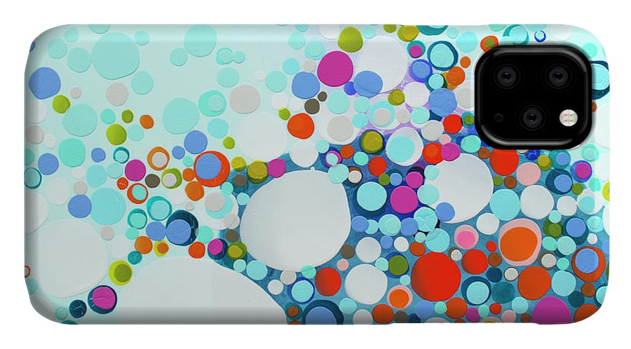 Abstract IPhone 11 Case featuring the painting Comfortable In Chaos by Claire Desjardins