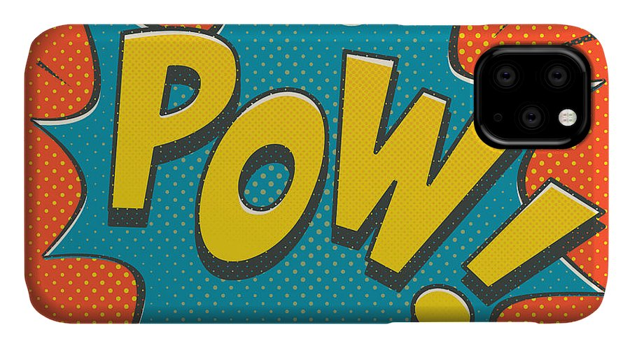 Comic IPhone 11 Case featuring the digital art Comic Pow by Mitch Frey