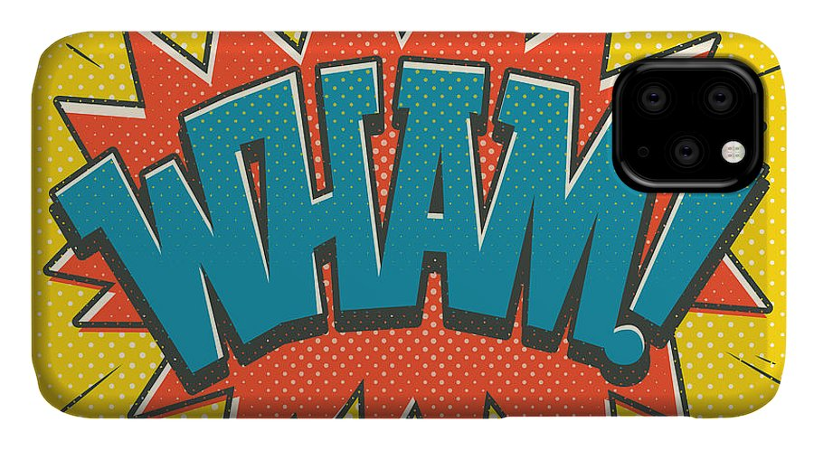Comic IPhone Case featuring the digital art Comic Wham by Mitch Frey