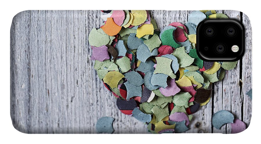 Heart IPhone 11 Case featuring the photograph Confetti Heart by Nailia Schwarz