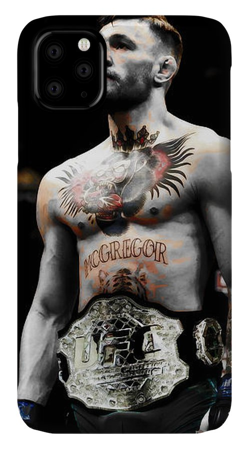 Conor Mcgregor IPhone Case featuring the mixed media Conor Mcgregor Standing Tall by Brian Reaves