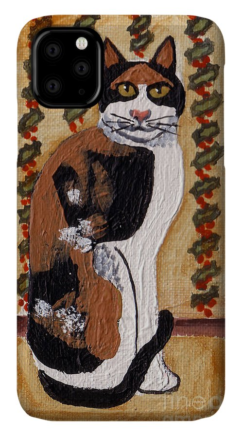 Calico Cat IPhone Case featuring the painting Cool Calico Cat by Genevieve Esson