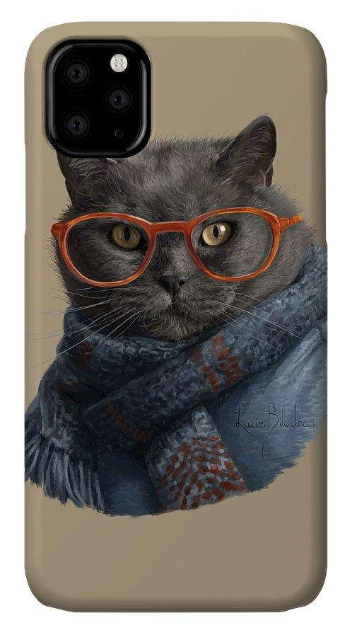 Cat IPhone Case featuring the digital art Cool Cat by Lucie Bilodeau