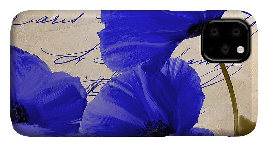 Poppies IPhone Case featuring the painting Coquelicots Bleue by Mindy Sommers