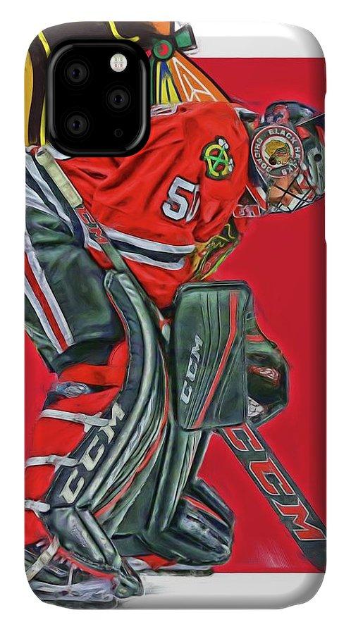 Corey Crawford IPhone Case featuring the mixed media Corey Crawford Chicago Blackhawks Oil Art by Joe Hamilton
