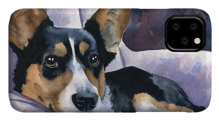 Welsh IPhone 11 Case featuring the painting Corgi by David Rogers