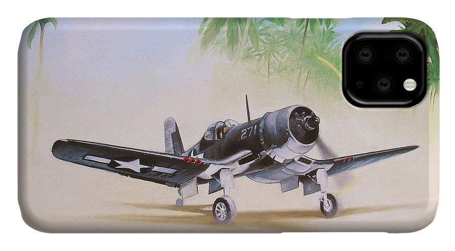 Aviation IPhone Case featuring the painting Corsair Preflight by Marc Stewart