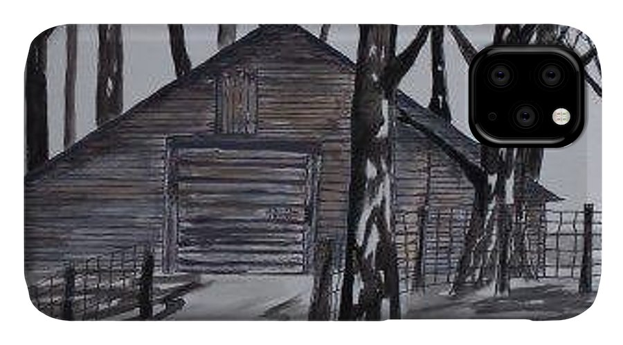Watercolor Landscape Painting Barn Pen And Ink Drawing Print Original IPhone Case featuring the painting COUNTRY BARN pen and ink drawing print by Derek Mccrea
