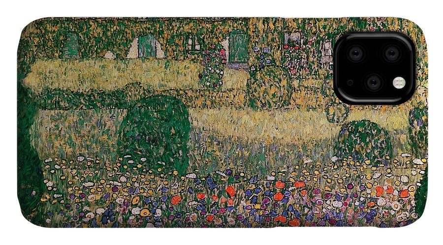 Country IPhone 11 Case featuring the painting Country House By The Attersee by Gustav Klimt