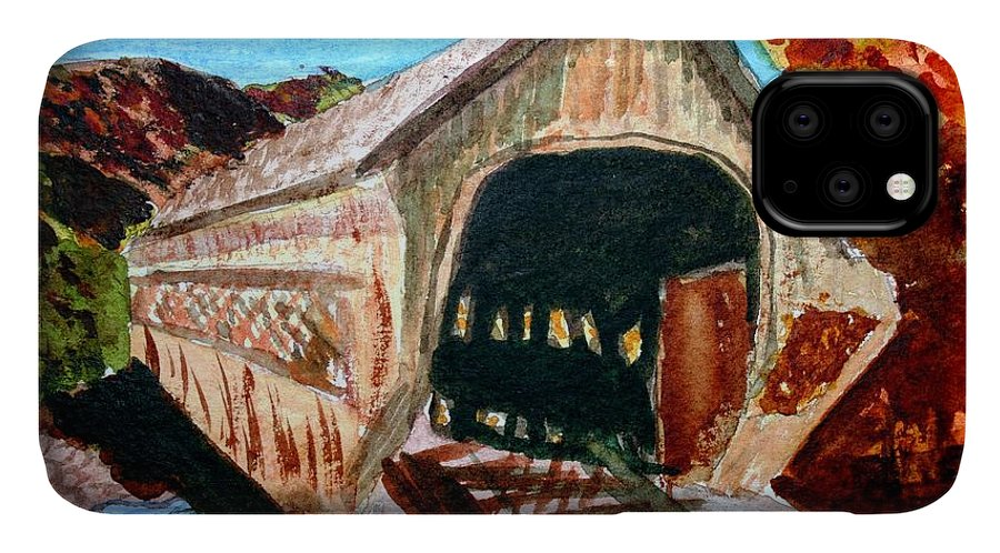 Covered Bridge IPhone Case featuring the painting Covered Bridge Woodstock Vt by Donna Walsh