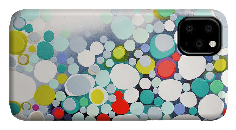 Abstract IPhone 11 Case featuring the painting Cross The Line by Claire Desjardins