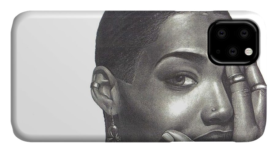 Woman IPhone 11 Case featuring the drawing Crystal Blaque by Charlene Cooper