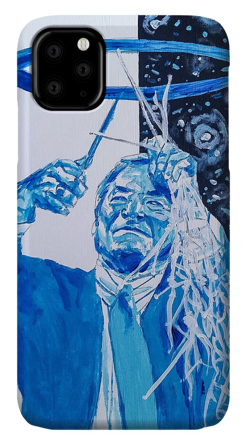 Dean Smith IPhone 11 Case featuring the painting Cutting Down The Net - Dean Smith by Joel Tesch