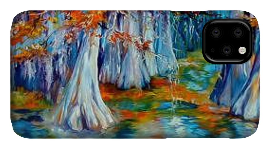 Tree IPhone Case featuring the painting CYPRESS TREES ALONG The BAYOU by Marcia Baldwin