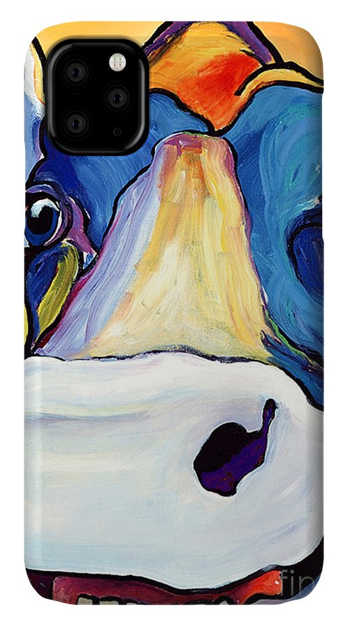 Cow Print IPhone Case featuring the painting Dairy Queen I  by Pat Saunders-White