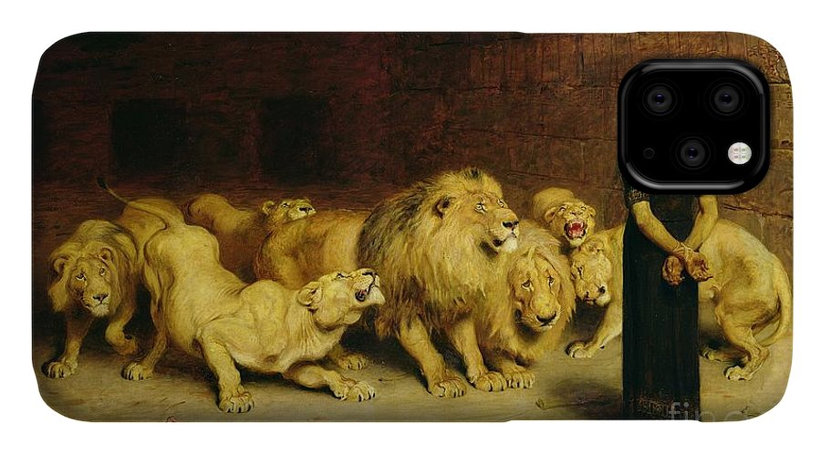Daniel In The Lions' Den IPhone Case featuring the painting Daniel In The Lions Den by Briton Riviere