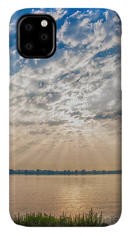 Dawn IPhone Case featuring the mixed media Dappled Dawn by Terry Rowe