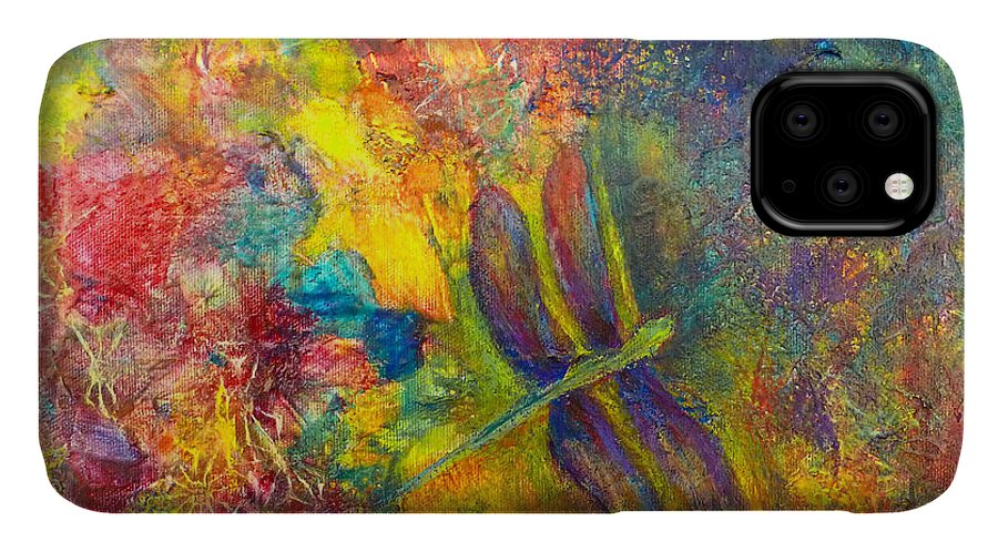 Dragonfly IPhone 11 Case featuring the painting Darling Dragonfly by Claire Bull