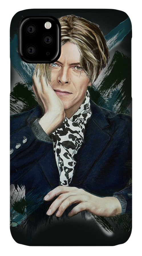 David Bowie IPhone Case featuring the pastel David Bowie by Melanie D