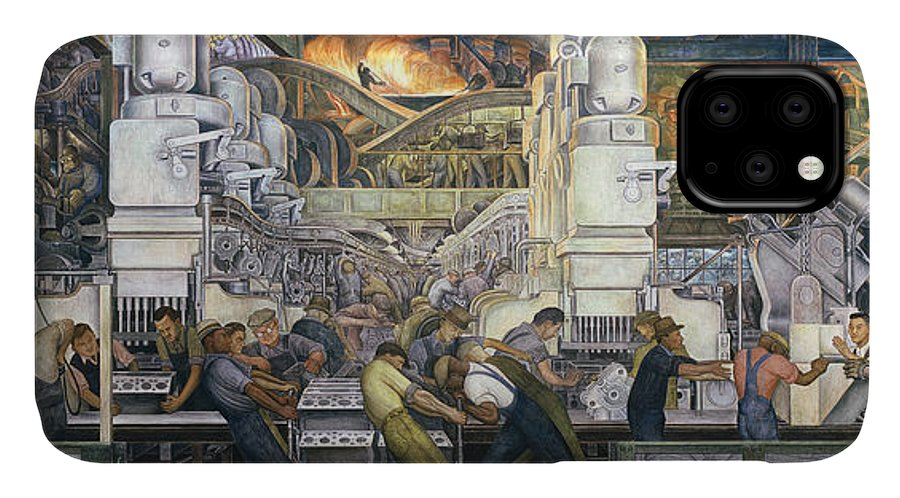 Machinery; Factory; Production Line; Labour; Worker; Male; Industrial Age; Technology; Automobile; Interior; Manufacturing; Work; Detroit Industry IPhone Case featuring the painting Detroit Industry  North Wall by Diego Rivera