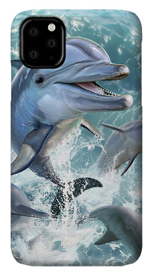 Dolphin IPhone 11 Case featuring the digital art Dolphin Jump by Jerry LoFaro