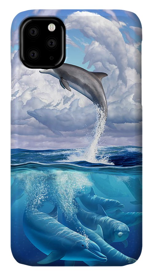 Dolphins IPhone 11 Case featuring the digital art Dolphonic Symphony by Jerry LoFaro