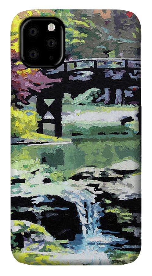 Bridge IPhone Case featuring the painting Drum Bridge Missouri Botanical Garden by John Lautermilch