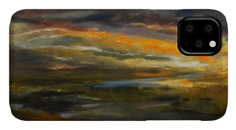 Sky IPhone Case featuring the painting Dusk At The River by Julianne Felton