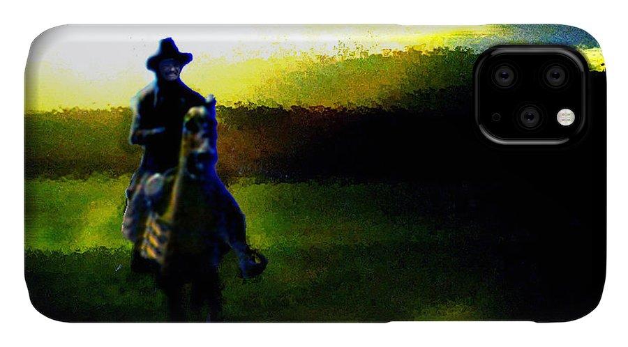Dusk IPhone Case featuring the digital art Dusk Rider by Seth Weaver
