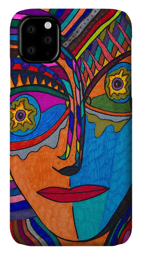 Earth And Aqua Mask IPhone 11 Case featuring the painting Earth And Aqua Mask - Abstract Face by Marie Jamieson