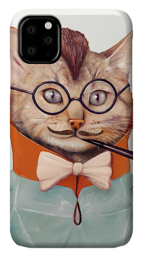Cat Art IPhone Case featuring the painting Eclectic Cat by Animal Crew