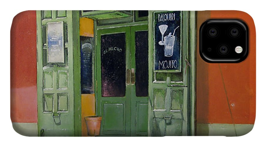 Hecho IPhone Case featuring the painting El Hecho Pub by Tomas Castano
