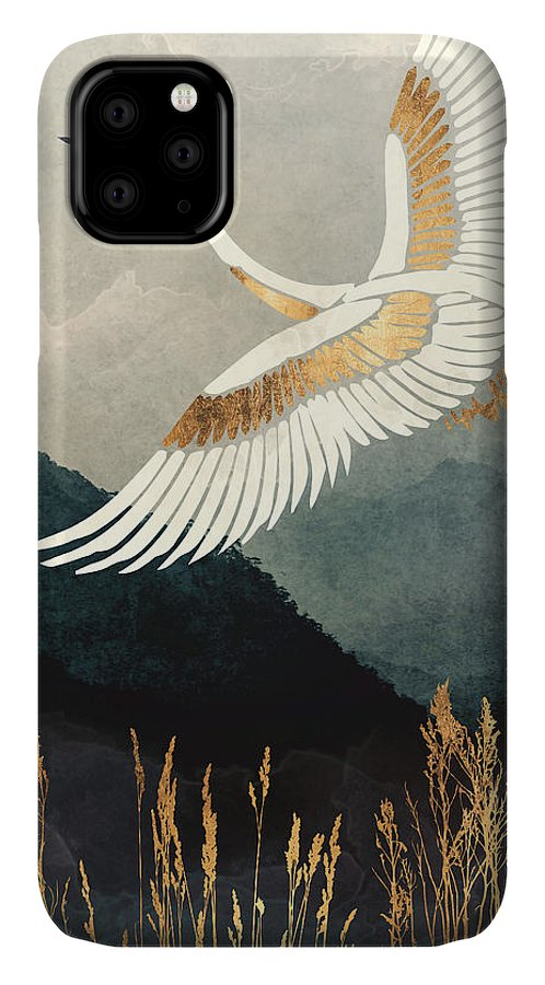 Crane IPhone 11 Case featuring the digital art Elegant Flight by Spacefrog Designs