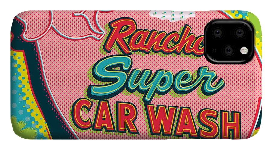 Pop Art IPhone 11 Case featuring the digital art Elephant Car Wash - Rancho Mirage - Palm Springs by Jim Zahniser