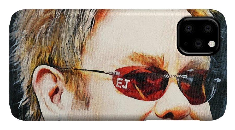 Elton IPhone Case featuring the digital art Elton john classic portrait by Yury Malkov