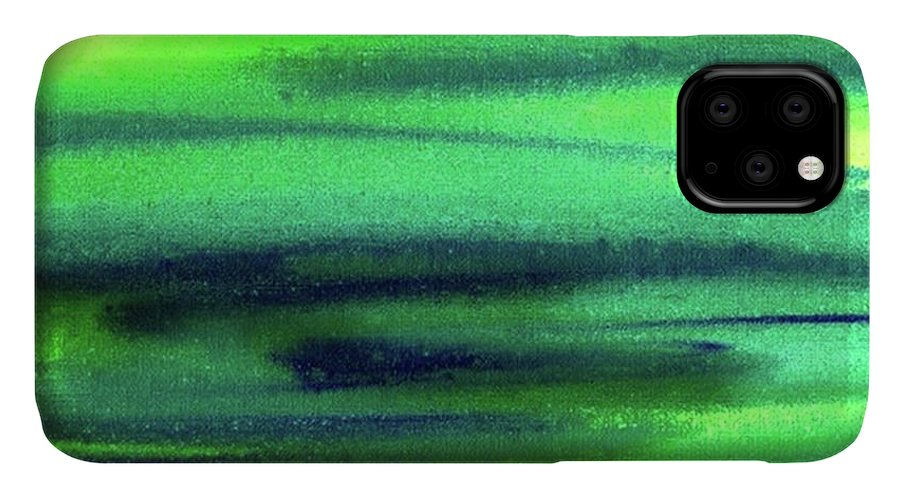 Emerald IPhone Case featuring the painting Emerald Flow Abstract Painting by Irina Sztukowski