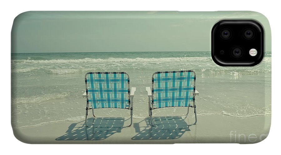 Chair IPhone 11 Case featuring the photograph Empty Beach Chairs by Edward Fielding
