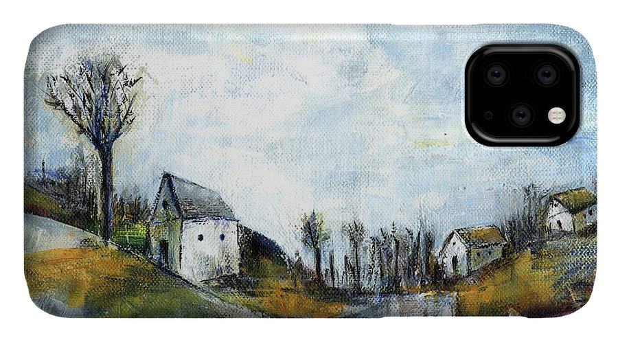 Landscape IPhone Case featuring the painting End Of Winter - Acrylic Landscape Painting On Cotton Canvas by Aniko Hencz