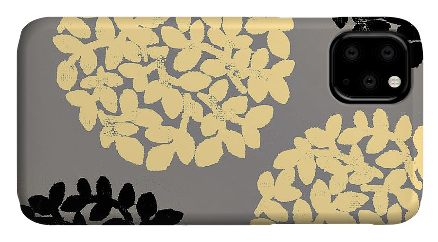 Yellow IPhone Case featuring the painting English Garden Retro Flower Pattern by Mindy Sommers