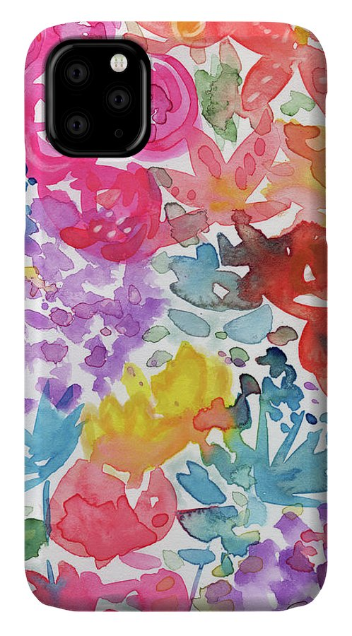 Flowers IPhone 11 Case featuring the mixed media Expressionist Watercolor Garden- Art By Linda Woods by Linda Woods