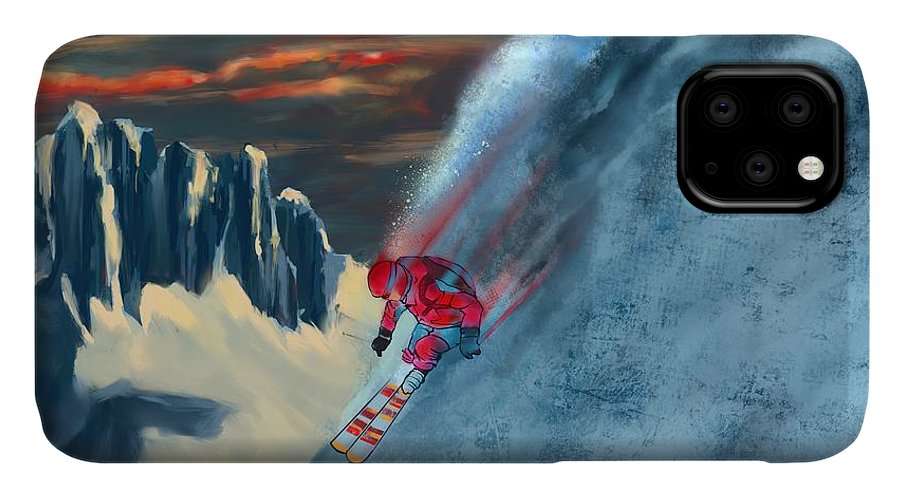 Ski IPhone Case featuring the painting Extreme Ski Painting by Sassan Filsoof