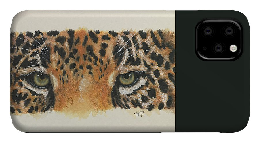 Jaguar IPhone Case featuring the painting Jaguar Gaze by Barbara Keith