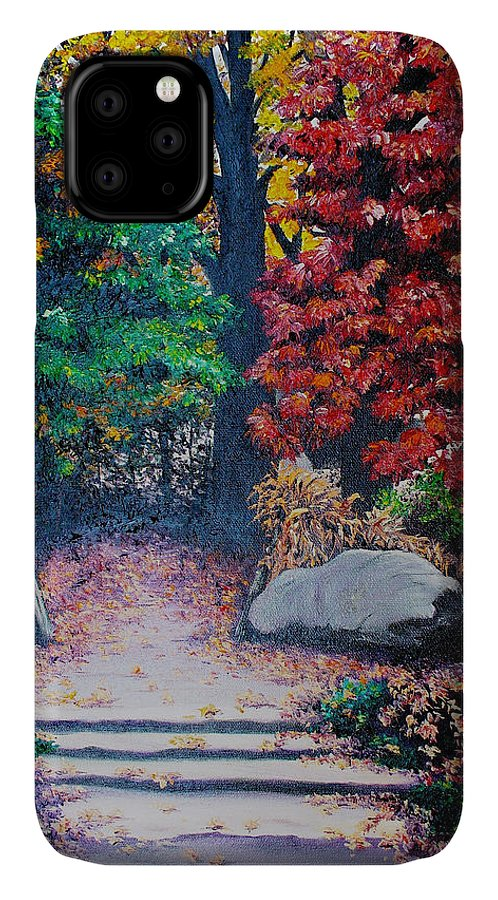 A N Original Painting Of An Autumn Scene In The Gateneau In Quebec IPhone Case featuring the painting Fall In Quebec Canada by Karin Dawn Kelshall- Best